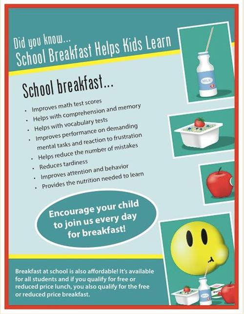 School breakfast flyer about the benefits of school breakfast and its affordability.